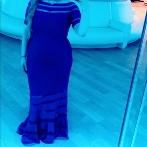 SEXY ROYAL BLUE OFF THE SHOULDER ILLUSION DRESS